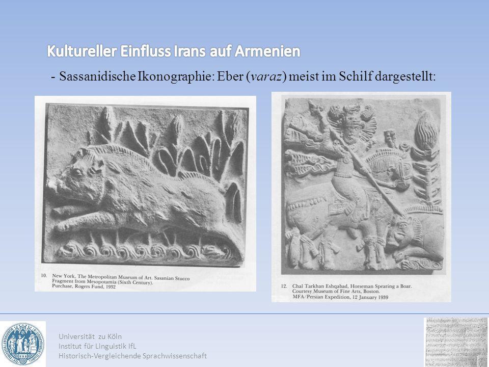 Universität zu Köln Institut für Linguistik IfL Historisch-Vergleichende Sprachwissenschaft - Sassanidische Ikonographie: Eber (varaz) meist im Schilf