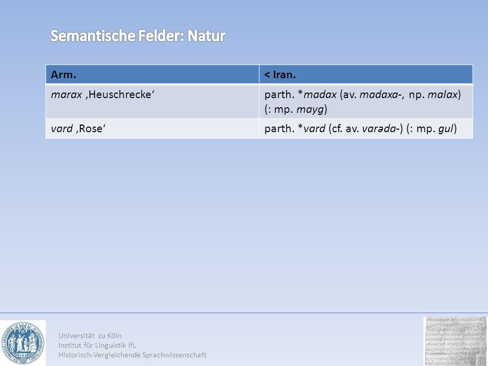 Arm.< Iran. marax Heuschreckeparth. *madax (av. madaxa-, np. malax) (: mp. mayg) vard Roseparth. *vard (cf. av. varəda-) (: mp. gul) Universität zu Kö