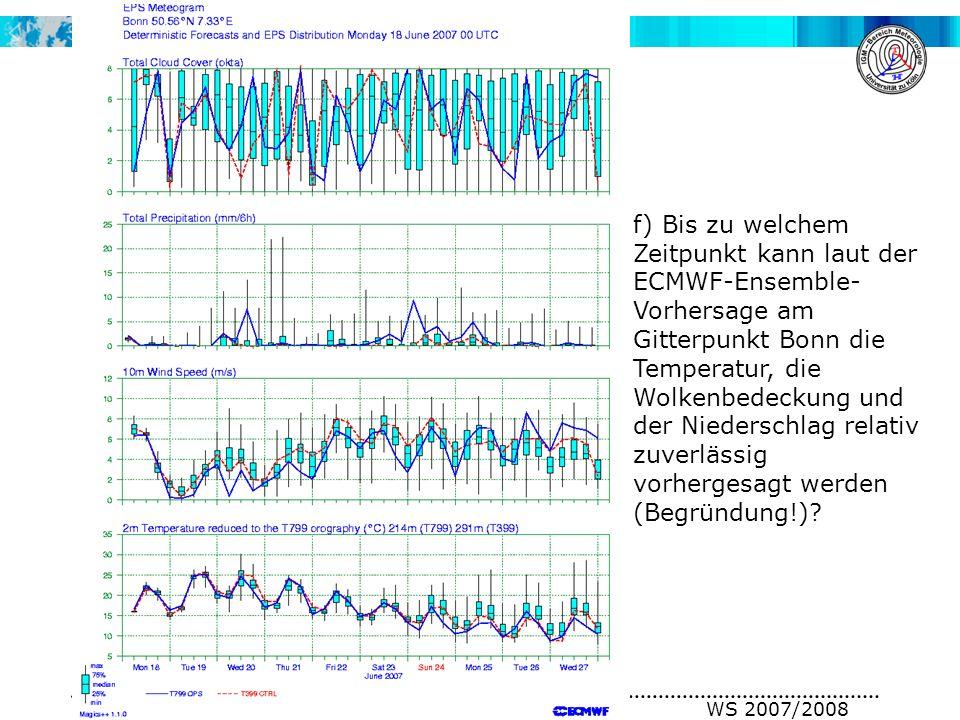 A. H. Fink, V. Ermert METSYN: Übung Synoptik WS 2007/2008 f) Bis zu welchem Zeitpunkt kann laut der ECMWF-Ensemble- Vorhersage am Gitterpunkt Bonn die