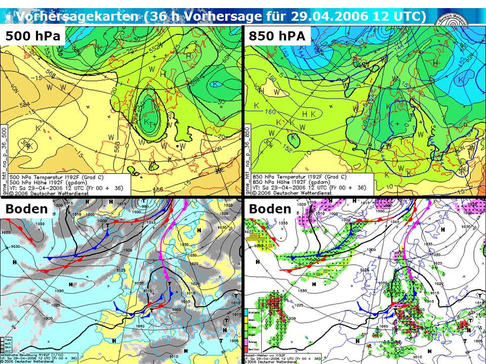 A. H. Fink, V. Ermert METSYN: Übung Synoptik WS 2007/2008 500 hPa Boden 850 hPA Vorhersagekarten (36 h Vorhersage für 29.04.2006 12 UTC)