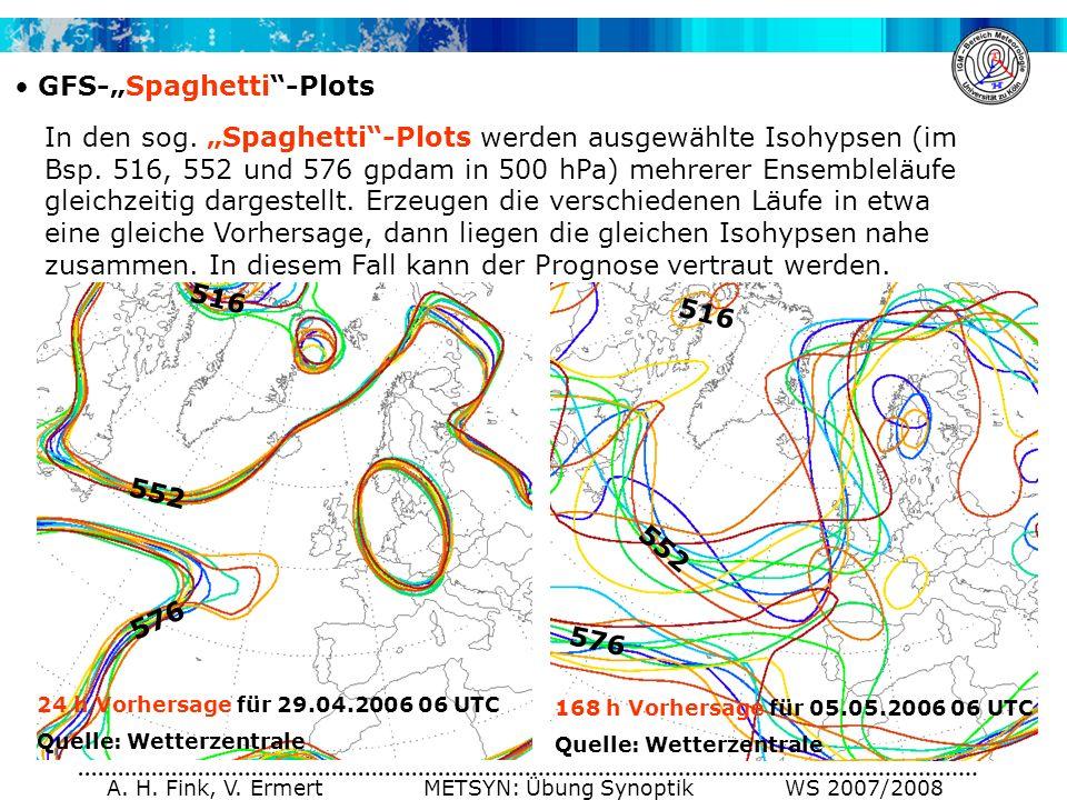 A. H. Fink, V. Ermert METSYN: Übung Synoptik WS 2007/2008 GFS-Spaghetti-Plots In den sog. Spaghetti-Plots werden ausgewählte Isohypsen (im Bsp. 516, 5