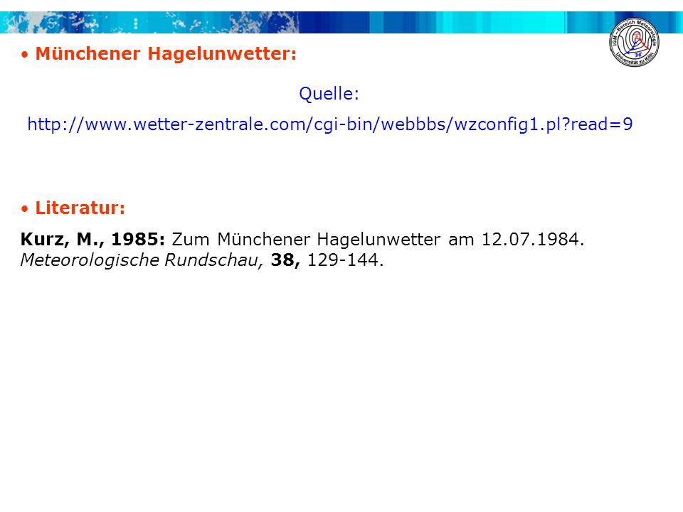 A. H. Fink, A. Krüger, V. Ermert Übung Synoptik für Fortgeschrittene WS 2008/2009 Münchener Hagelunwetter: Quelle: http://www.wetter-zentrale.com/cgi-