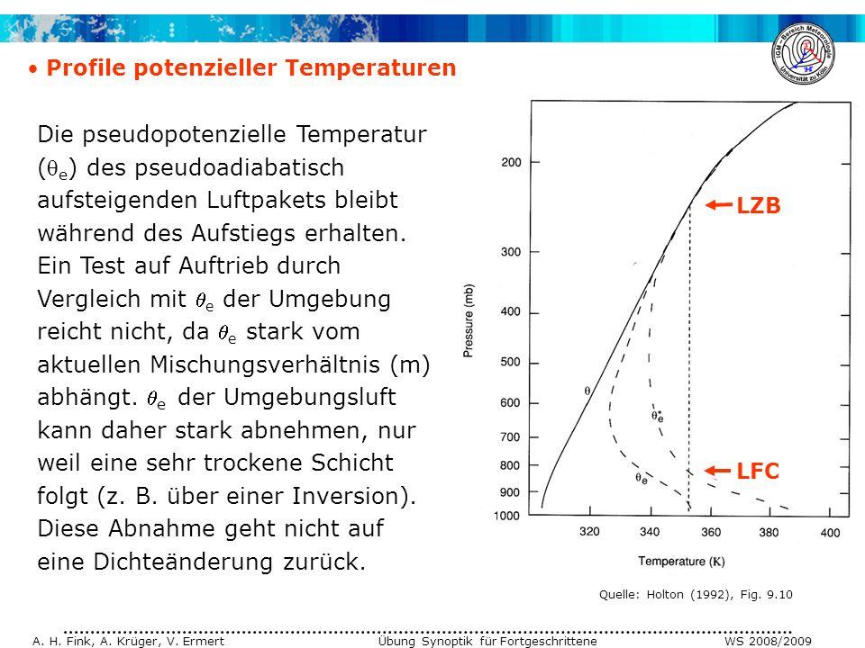 A. H. Fink, A. Krüger, V. Ermert Übung Synoptik für Fortgeschrittene WS 2008/2009 Profile potenzieller Temperaturen Die pseudopotenzielle Temperatur (