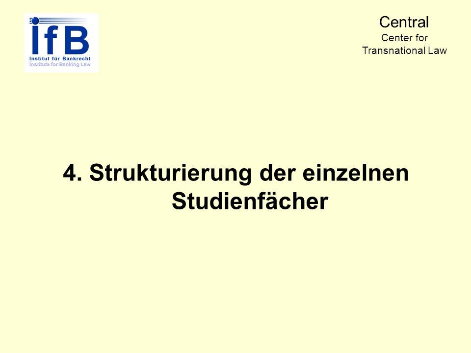 4. Strukturierung der einzelnen Studienfächer Central Center for Transnational Law