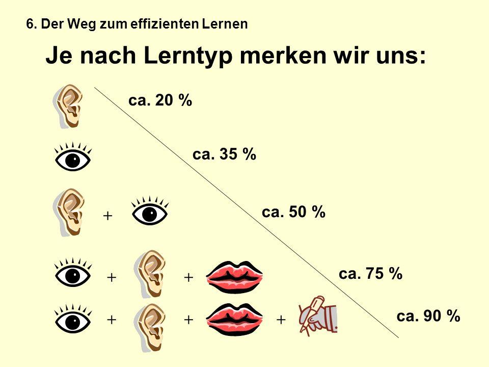 Je nach Lerntyp merken wir uns: + ++ +++ ca. 20 % ca. 35 % ca. 50 % ca. 75 % ca. 90 % 6. Der Weg zum effizienten Lernen