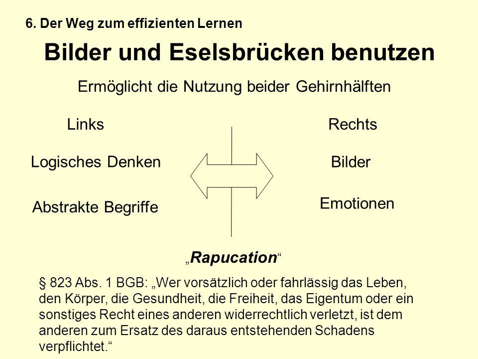 Bilder und Eselsbrücken benutzen Ermöglicht die Nutzung beider Gehirnhälften LinksRechts Logisches Denken Abstrakte Begriffe Bilder Emotionen Rapucati
