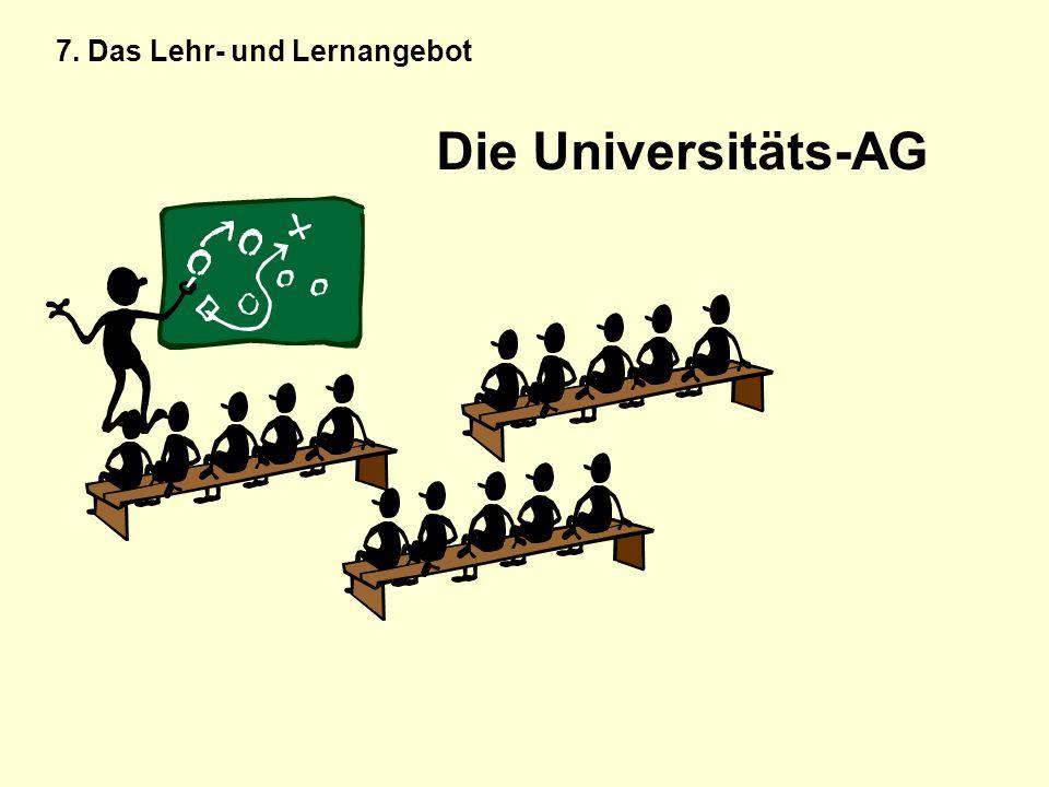 Die Universitäts-AG 7. Das Lehr- und Lernangebot