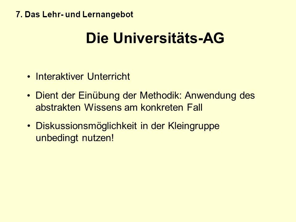 Die Universitäts-AG Interaktiver Unterricht Dient der Einübung der Methodik: Anwendung des abstrakten Wissens am konkreten Fall Diskussionsmöglichkeit