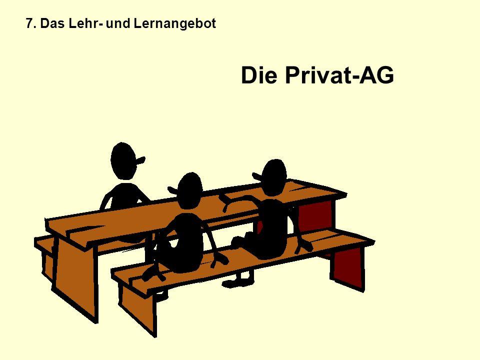 Die Privat-AG 7. Das Lehr- und Lernangebot