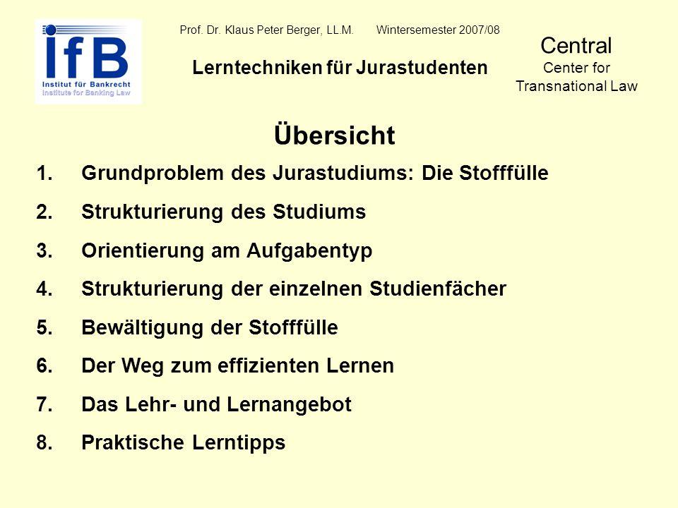 Prof. Dr. Klaus Peter Berger, LL.M. Wintersemester 2007/08 Lerntechniken für Jurastudenten Central Center for Transnational Law Übersicht 1.Grundprobl