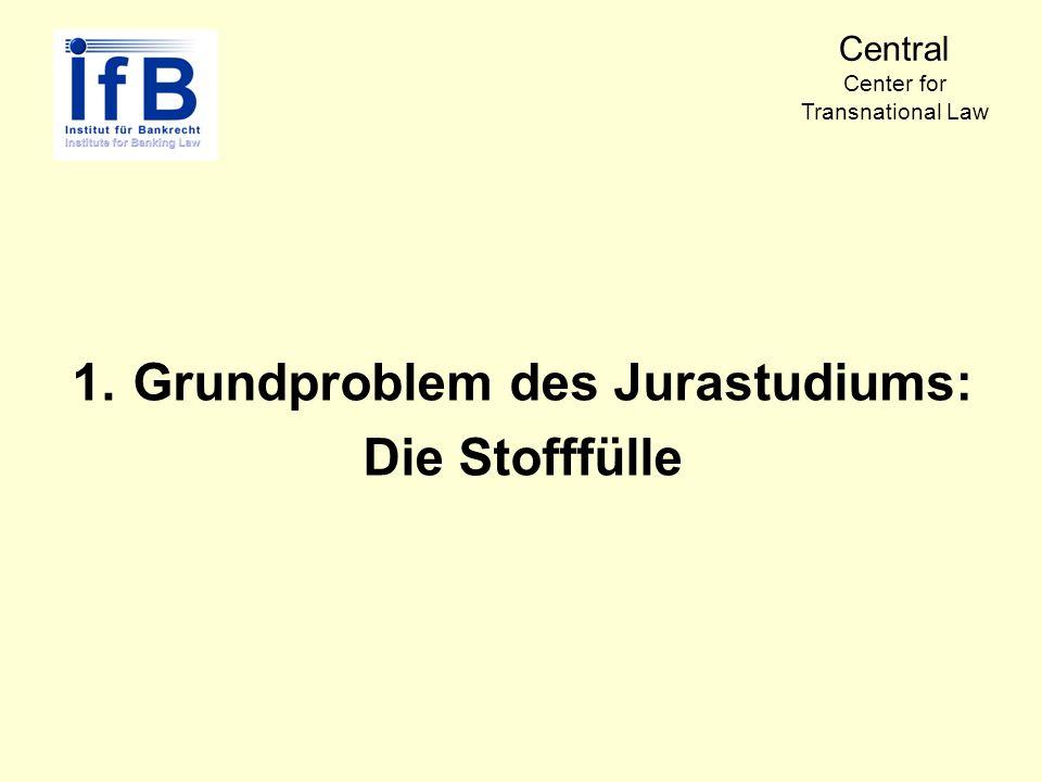 1.Grundproblem des Jurastudiums: Die Stofffülle Central Center for Transnational Law