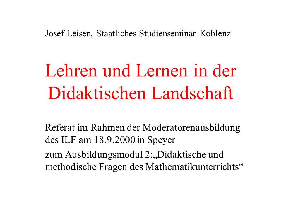 Lehren und Lernen in der Didaktischen Landschaft Referat im Rahmen der Moderatorenausbildung des ILF am 18.9.2000 in Speyer zum Ausbildungsmodul 2:Did