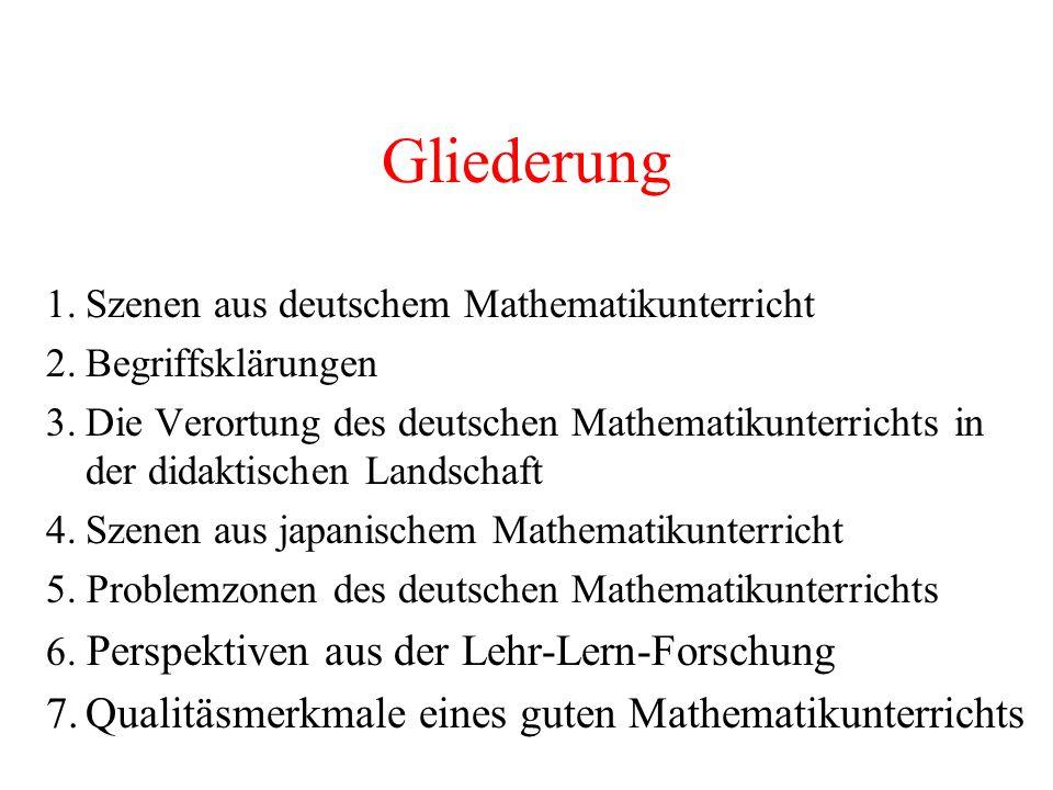 Gliederung 1.Szenen aus deutschem Mathematikunterricht 2.Begriffsklärungen 3.Die Verortung des deutschen Mathematikunterrichts in der didaktischen Lan