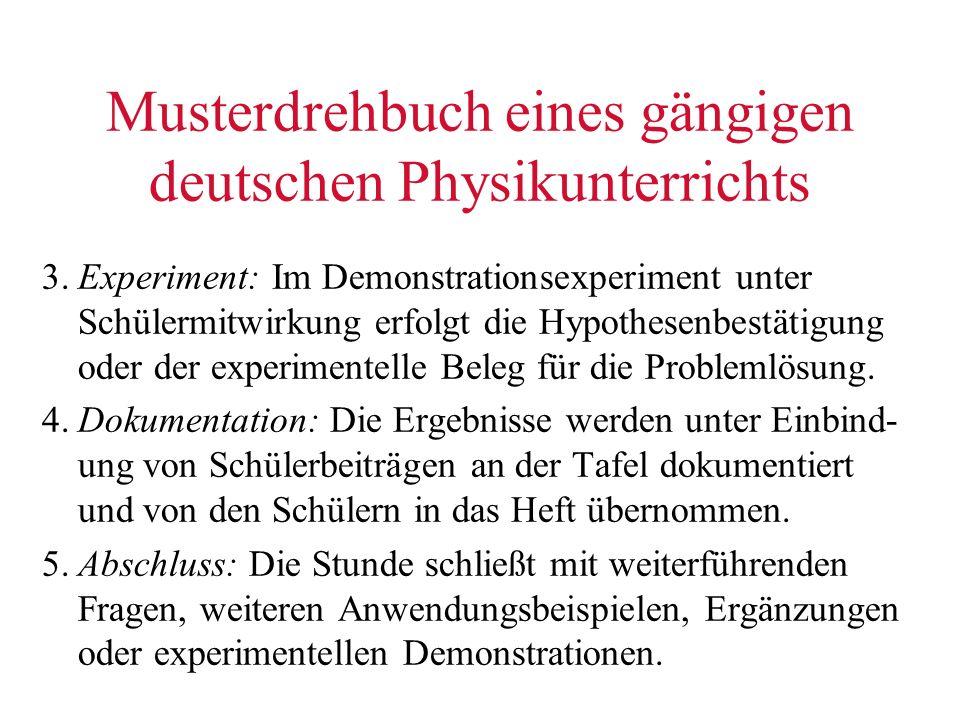 Musterdrehbuch eines gängigen deutschen Physikunterrichts 3.Experiment: Im Demonstrationsexperiment unter Schülermitwirkung erfolgt die Hypothesenbest