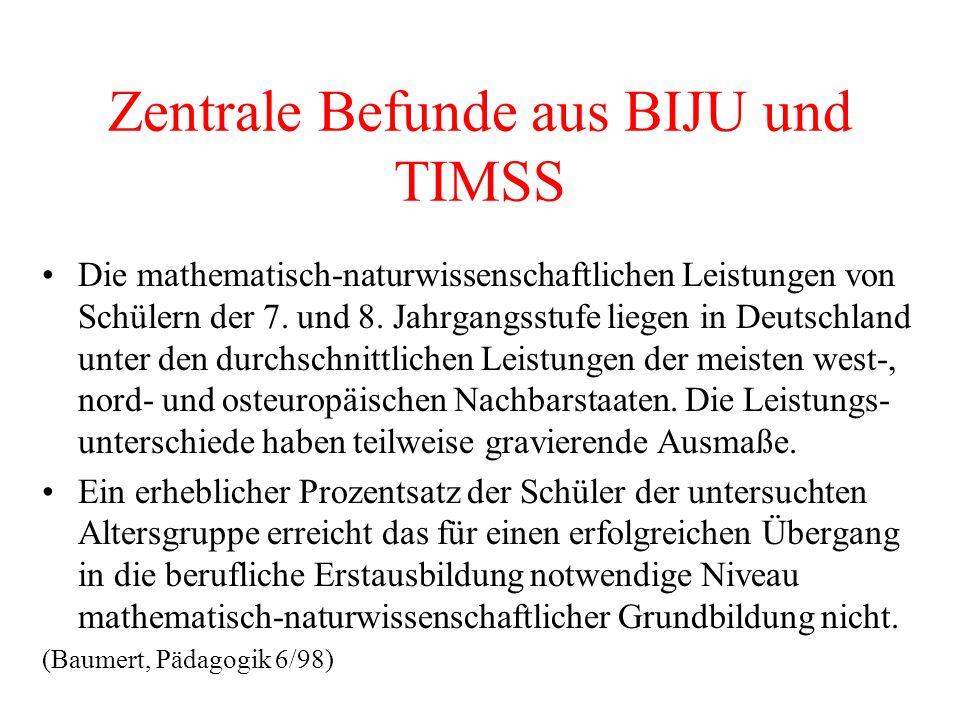 Zentrale Befunde aus BIJU und TIMSS Die mathematisch-naturwissenschaftlichen Leistungen von Schülern der 7. und 8. Jahrgangsstufe liegen in Deutschlan