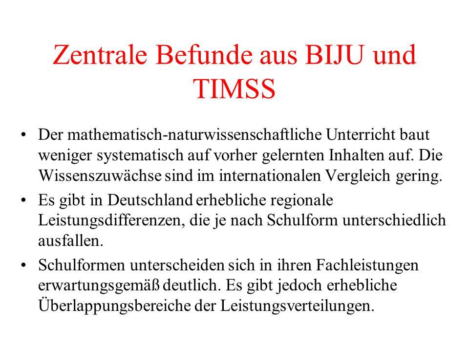 Zentrale Befunde aus BIJU und TIMSS Der mathematisch-naturwissenschaftliche Unterricht baut weniger systematisch auf vorher gelernten Inhalten auf. Di
