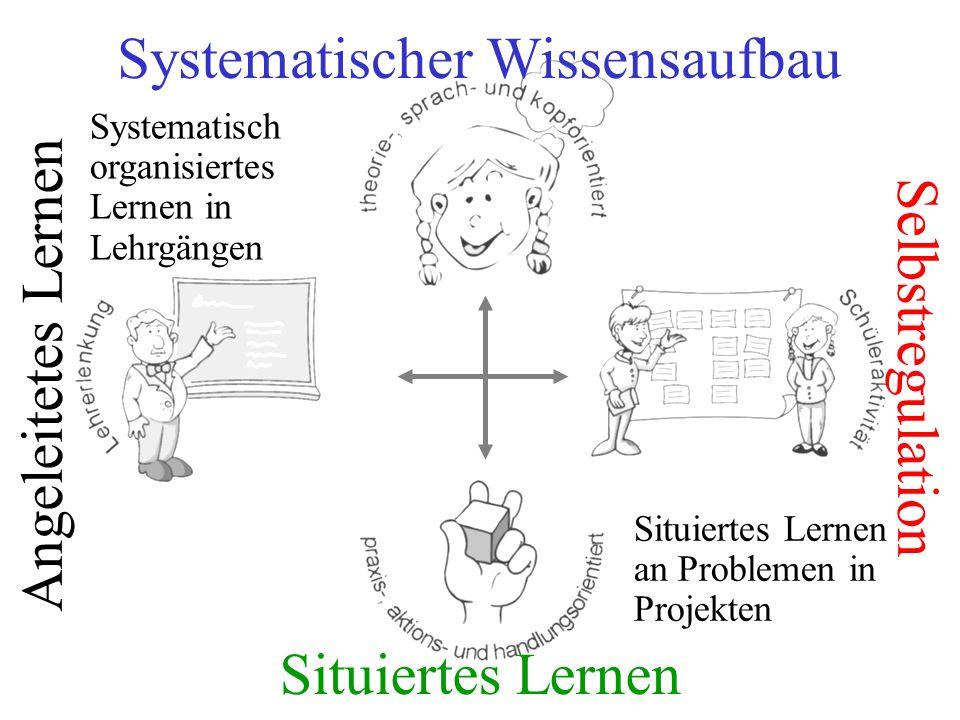 Systematisch organisiertes Lernen in Lehrgängen Situiertes Lernen an Problemen in Projekten Angeleitetes Lernen Selbstregulation Situiertes Lernen Sys