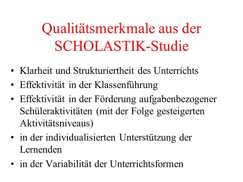 Qualitätsmerkmale aus der SCHOLASTIK-Studie Klarheit und Strukturiertheit des Unterrichts Effektivität in der Klassenführung Effektivität in der Förde