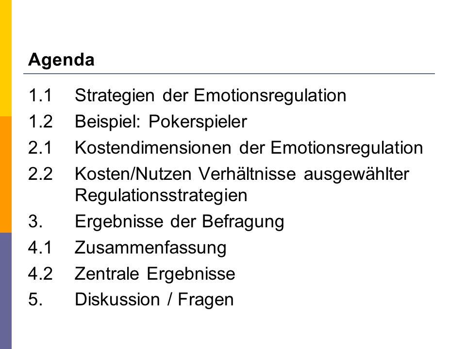 Agenda 1.1 Strategien der Emotionsregulation 1.2 Beispiel: Pokerspieler 2.1 Kostendimensionen der Emotionsregulation 2.2 Kosten/Nutzen Verhältnisse au