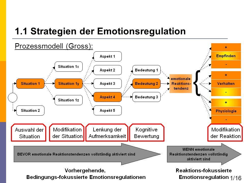 Prozessmodell (Gross): 1.1 Strategien der Emotionsregulation 1/16
