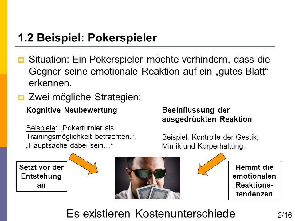 1.2 Beispiel: Pokerspieler Situation: Ein Pokerspieler möchte verhindern, dass die Gegner seine emotionale Reaktion auf ein gutes Blatt erkennen. Zwei