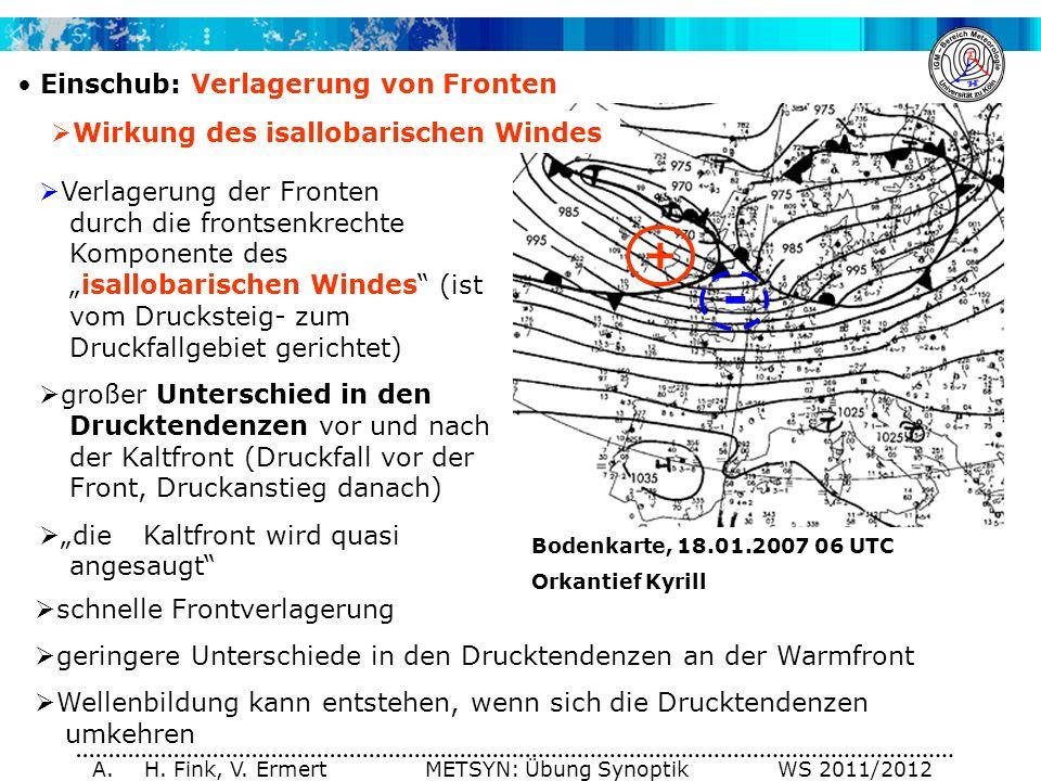 A. H. Fink, V. Ermert METSYN: Übung Synoptik WS 2011/2012 Einschub: Verlagerung von Fronten - + Verlagerung der Fronten durch die frontsenkrechte Komp