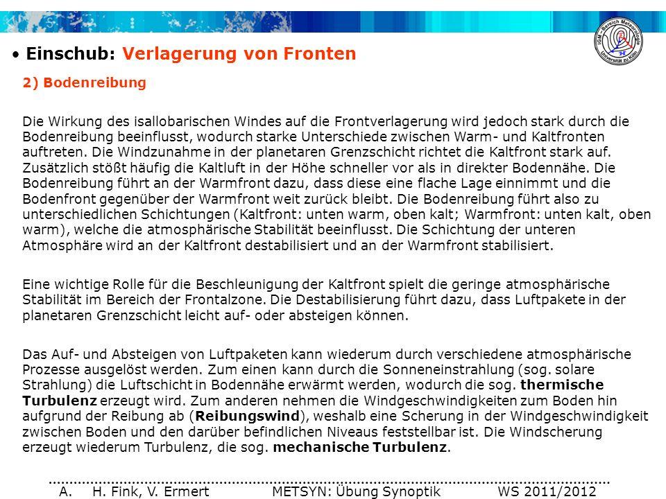 A. H. Fink, V. Ermert METSYN: Übung Synoptik WS 2011/2012 Einschub: Verlagerung von Fronten 2) Bodenreibung Die Wirkung des isallobarischen Windes auf