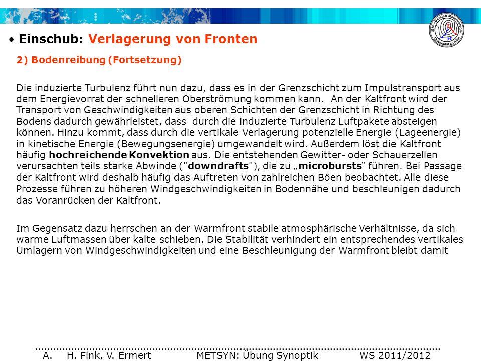 A. H. Fink, V. Ermert METSYN: Übung Synoptik WS 2011/2012 Einschub: Verlagerung von Fronten 2) Bodenreibung (Fortsetzung) Die induzierte Turbulenz füh