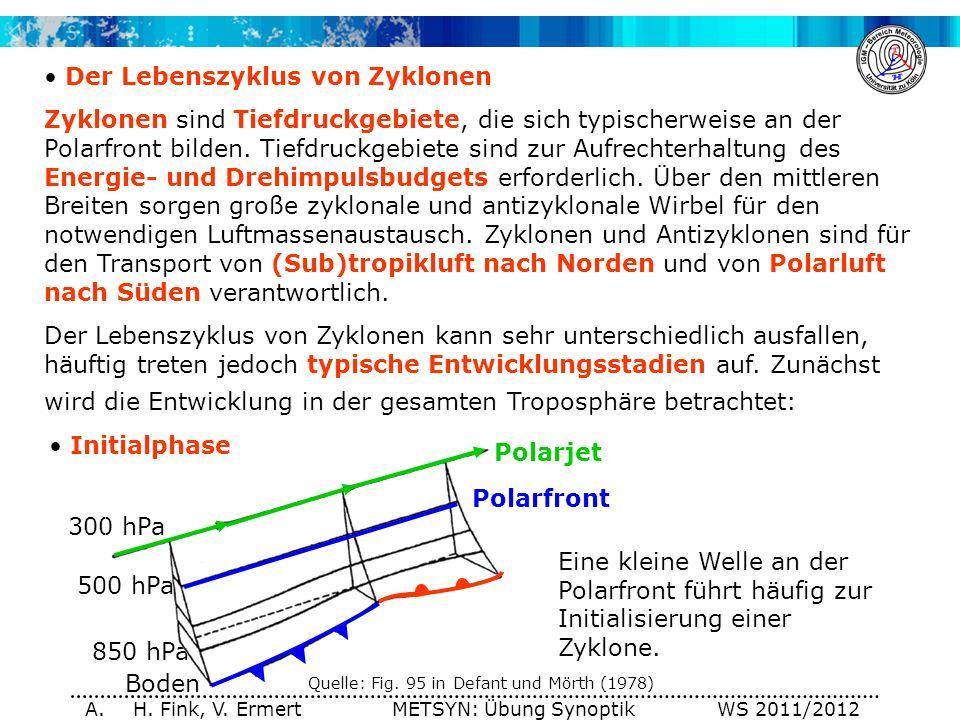 A. H. Fink, V. Ermert METSYN: Übung Synoptik WS 2011/2012 300 hPa 500 hPa 850 hPa Boden Der Lebenszyklus von Zyklonen Zyklonen sind Tiefdruckgebiete,