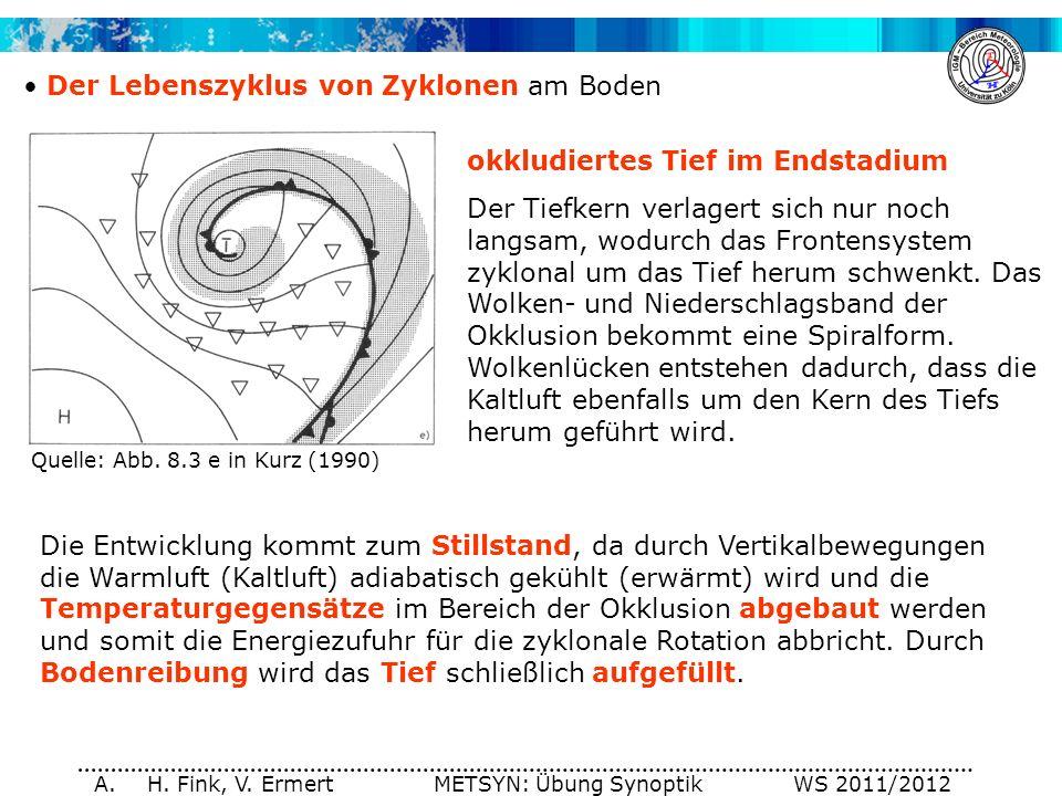 A. H. Fink, V. Ermert METSYN: Übung Synoptik WS 2011/2012 Der Lebenszyklus von Zyklonen am Boden okkludiertes Tief im Endstadium Der Tiefkern verlager