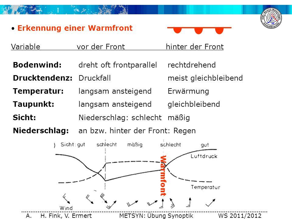 A. H. Fink, V. Ermert METSYN: Übung Synoptik WS 2011/2012 Erkennung einer Warmfront Variablevor der Fronthinter der Front Bodenwind:dreht oft frontpar