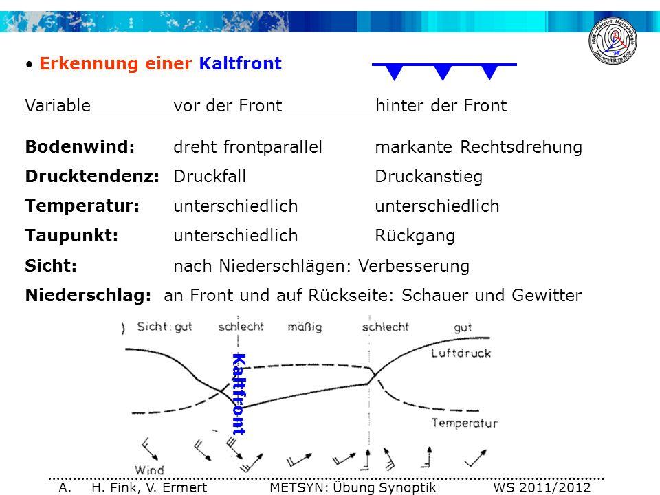A. H. Fink, V. Ermert METSYN: Übung Synoptik WS 2011/2012 Erkennung einer Kaltfront Variablevor der Front hinter der Front Bodenwind:dreht frontparall