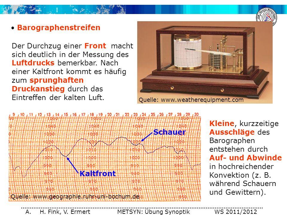 A. H. Fink, V. Ermert METSYN: Übung Synoptik WS 2011/2012 Barographenstreifen Quelle: www.geographie.ruhr-uni-bochum.de Quelle: www.weatherequipment.c