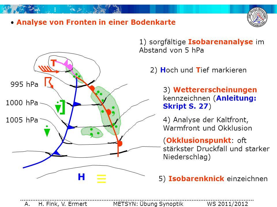 A. H. Fink, V. Ermert METSYN: Übung Synoptik WS 2011/2012 Analyse von Fronten in einer Bodenkarte 1) sorgfältige Isobarenanalyse im Abstand von 5 hPa