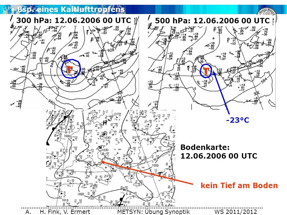 A. H. Fink, V. Ermert METSYN: Übung Synoptik WS 2011/2012 Bsp. eines Kaltlufttropfens 300 hPa: 12.06.2006 00 UTC 500 hPa: 12.06.2006 00 UTC Bodenkarte