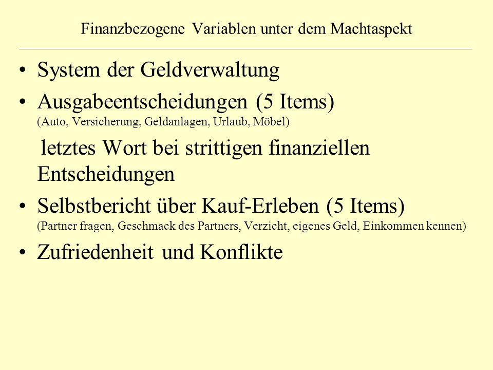 Finanzbezogene Variablen unter dem Machtaspekt System der Geldverwaltung Ausgabeentscheidungen (5 Items) (Auto, Versicherung, Geldanlagen, Urlaub, Möb