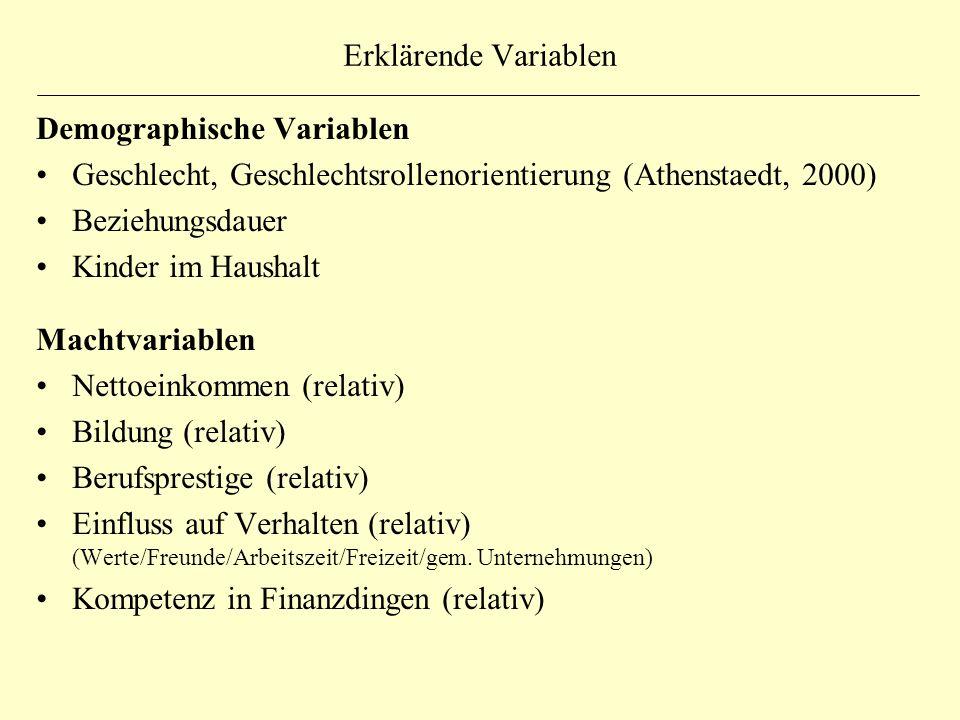 Erklärende Variablen Demographische Variablen Geschlecht, Geschlechtsrollenorientierung (Athenstaedt, 2000) Beziehungsdauer Kinder im Haushalt Machtva