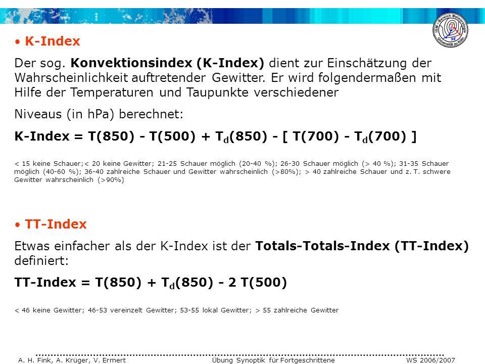 A.H. Fink, A. Krüger, V. Ermert Übung Synoptik für Fortgeschrittene WS 2006/2007 K-Index Der sog.