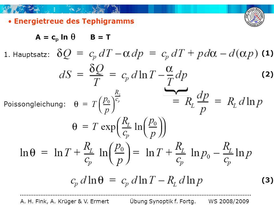 A. H. Fink, A. Krüger & V. Ermert Übung Synoptik f. Fortg. WS 2008/2009 Energietreue des Tephigramms A = c p ln B = T Poissongleichung: (2) (3) 1. Hau