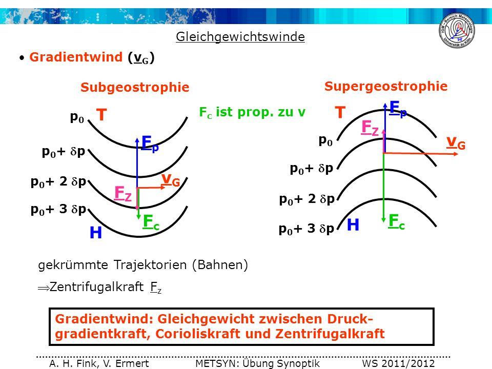 A. H. Fink, V. Ermert METSYN: Übung Synoptik WS 2011/2012 Gleichgewichtswinde Gradientwind (v G ) H p0p0 p 0 +p p 0 +2 p T p 0 +3 p p0p0 p 0 +p p 0 +2