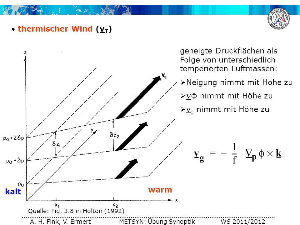 A. H. Fink, V. Ermert METSYN: Übung Synoptik WS 2011/2012 thermischer Wind (v T ) Quelle: Fig. 3.8 in Holton (1992) geneigte Druckflächen als Folge vo
