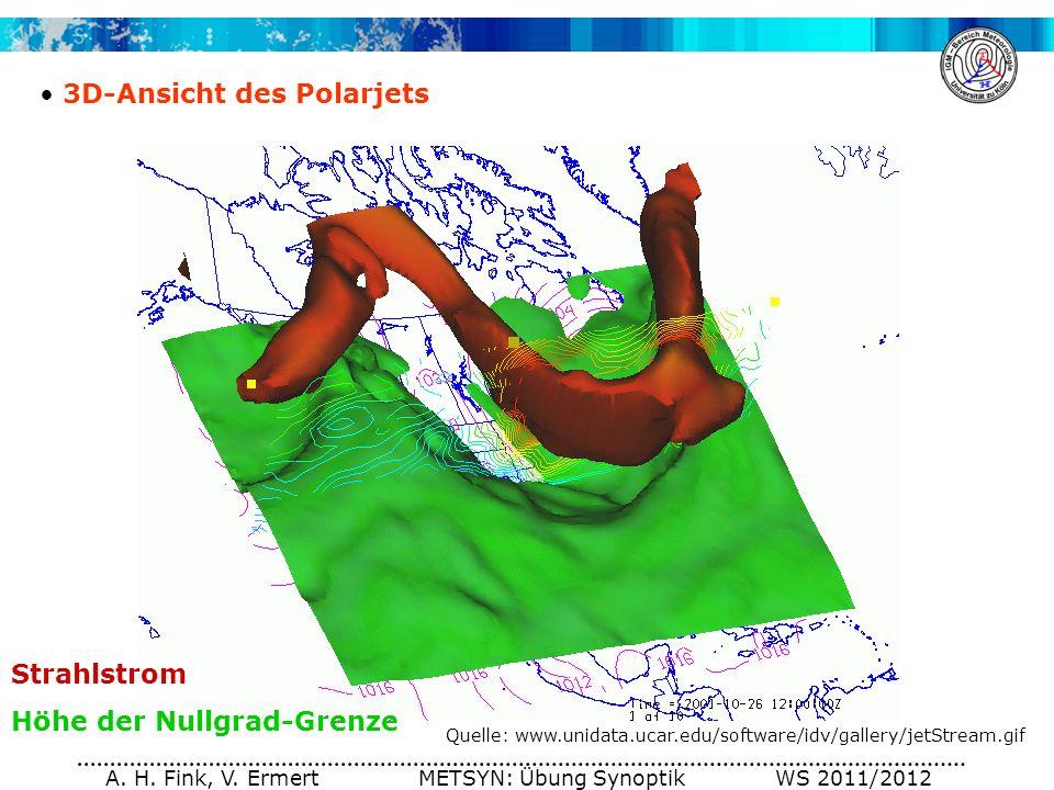 A. H. Fink, V. Ermert METSYN: Übung Synoptik WS 2011/2012 3D-Ansicht des Polarjets Quelle: www.unidata.ucar.edu/software/idv/gallery/jetStream.gif Str