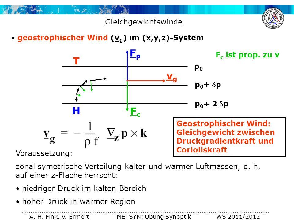 A. H. Fink, V. Ermert METSYN: Übung Synoptik WS 2011/2012 Gleichgewichtswinde geostrophischer Wind (v g ) im (x,y,z)-System p0p0 p 0 +p p 0 +2 p T H F