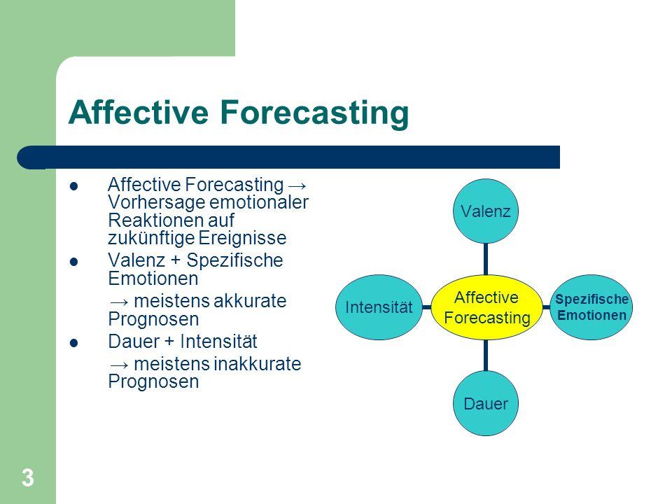 3 Affective Forecasting Affective Forecasting Vorhersage emotionaler Reaktionen auf zukünftige Ereignisse Valenz + Spezifische Emotionen meistens akkurate Prognosen Dauer + Intensität meistens inakkurate Prognosen Affective Forecasting Valenz Spezifische Emotionen DauerIntensität