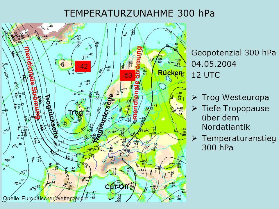 TEMPERATURZUNAHME 300 hPa Geopotenzial 300 hPa 04.05.2004 12 UTC Trog Westeuropa Tiefe Tropopause über dem Nordatlantik Temperaturanstieg 300 hPa Thor