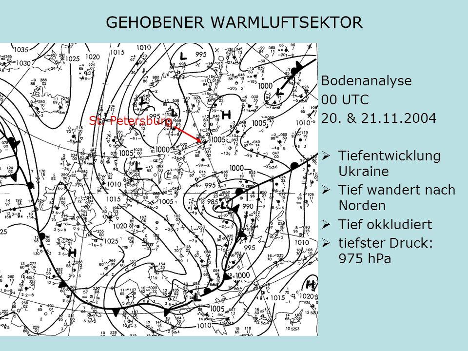 GEHOBENER WARMLUFTSEKTOR Bodenanalyse 00 UTC 20. & 21.11.2004 Tiefentwicklung Ukraine Tief wandert nach Norden Tief okkludiert tiefster Druck: 975 hPa