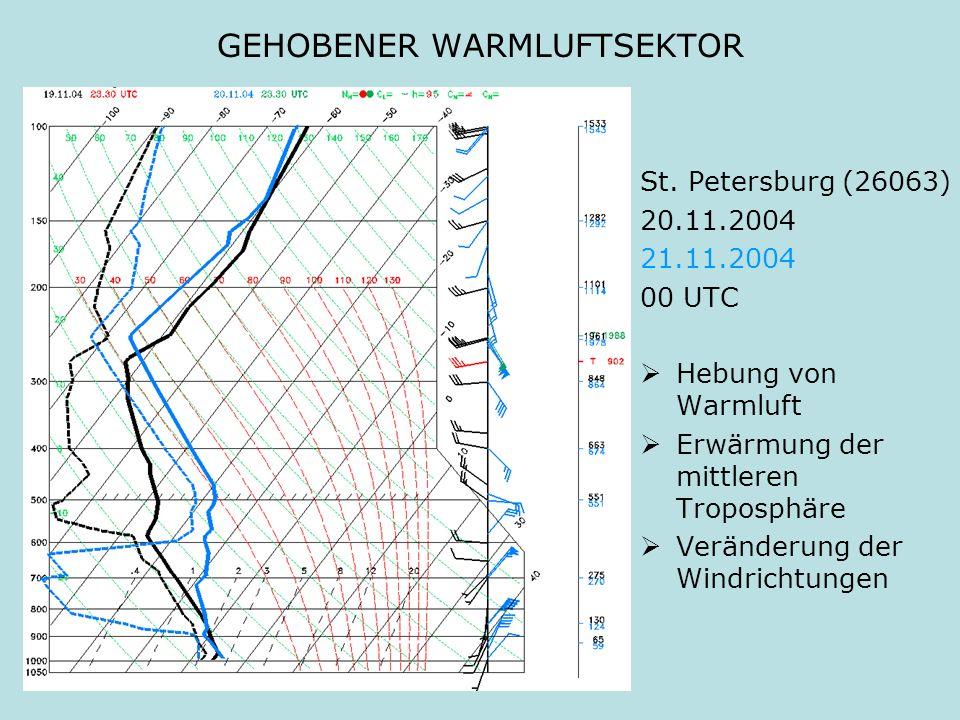 GEHOBENER WARMLUFTSEKTOR St. Petersburg (26063) 20.11.2004 21.11.2004 00 UTC Hebung von Warmluft Erwärmung der mittleren Troposphäre Veränderung der W
