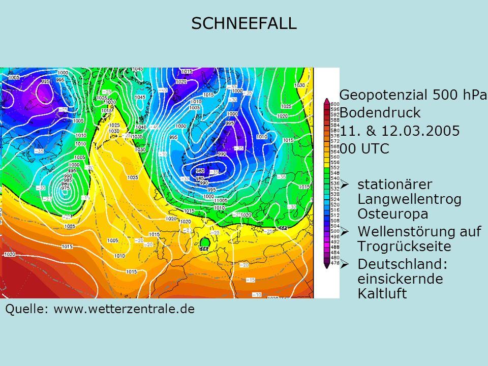 SCHNEEFALL Geopotenzial 500 hPa Bodendruck 11. & 12.03.2005 00 UTC stationärer Langwellentrog Osteuropa Wellenstörung auf Trogrückseite Deutschland: e