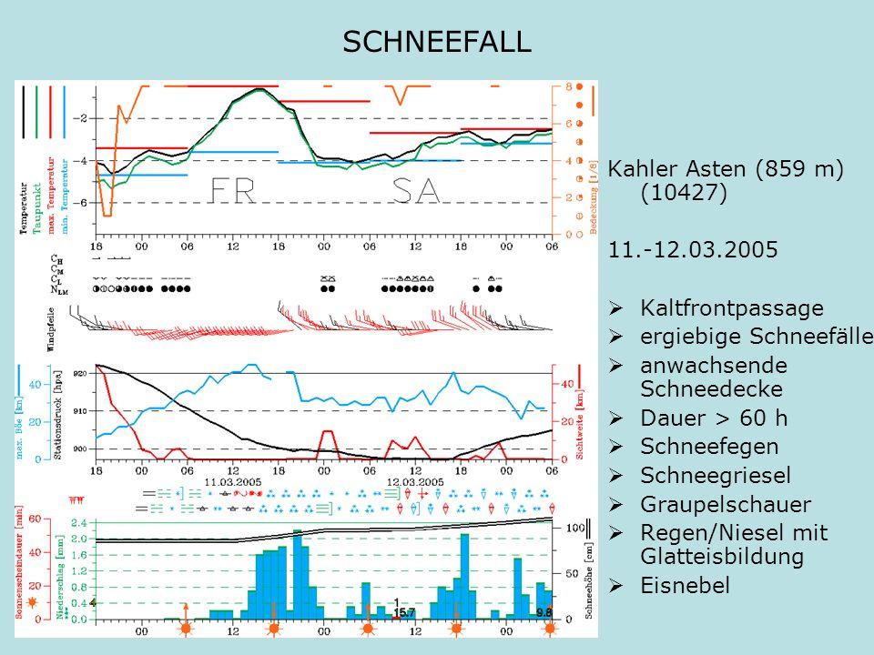 SCHNEEFALL Kahler Asten (859 m) (10427) 11.-12.03.2005 Kaltfrontpassage ergiebige Schneefälle anwachsende Schneedecke Dauer > 60 h Schneefegen Schneeg