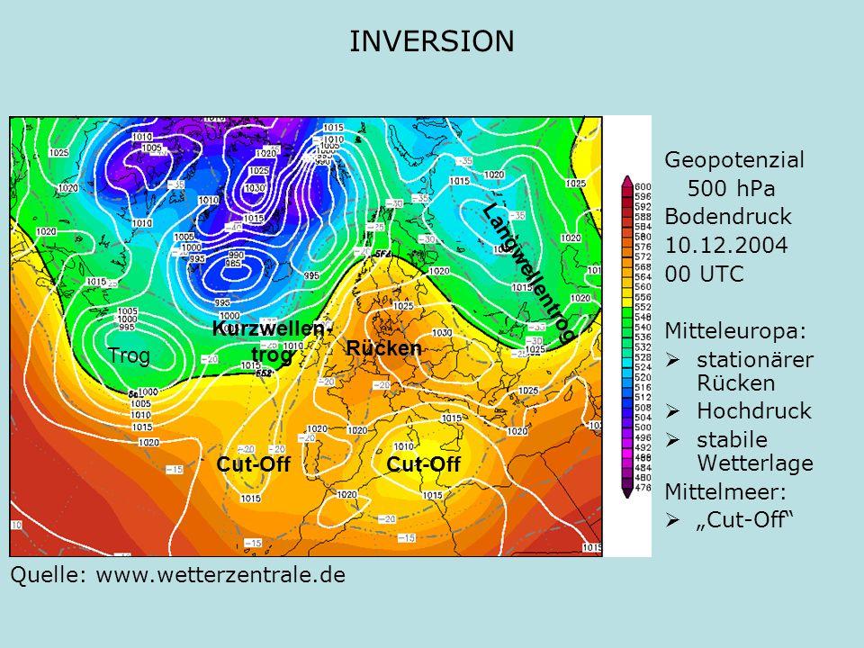 INVERSION Geopotenzial 500 hPa Bodendruck 10.12.2004 00 UTC Mitteleuropa: stationärer Rücken Hochdruck stabile Wetterlage Mittelmeer: Cut-Off Quelle: